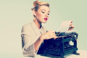 Retro typewriter work paper side view music typewriter shoulders employment