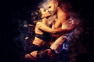 Couple. Sensual brunette in black lingerie and handsome man kissing. Digital art