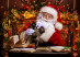Santa Claus is preparing for Christmas, he looks through binoculars. House of Santa Claus. Christmas decoration.