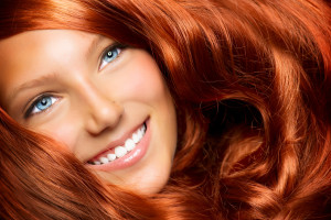 Hair. Beauty With Healthy Long Red Curly Hair. Extension