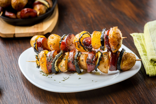 baked potato skewers with sausage and zucchini - straight from the oven