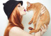 Fashion photo of elegant lady with Abyssinian cat ** Note: Soft Focus at 100%, best at smaller sizes